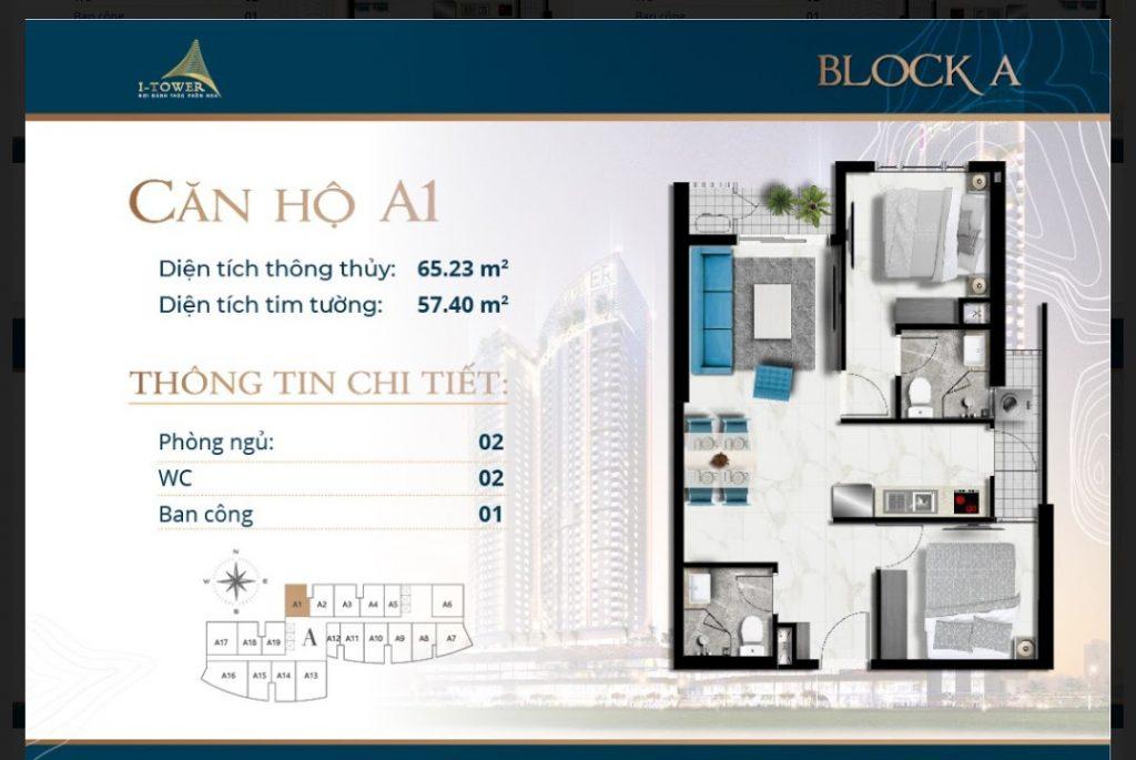 Thiết kế căn 2 phòng ngủ 65m2 căn hộ I-Tower Residences Quy Nhơn.