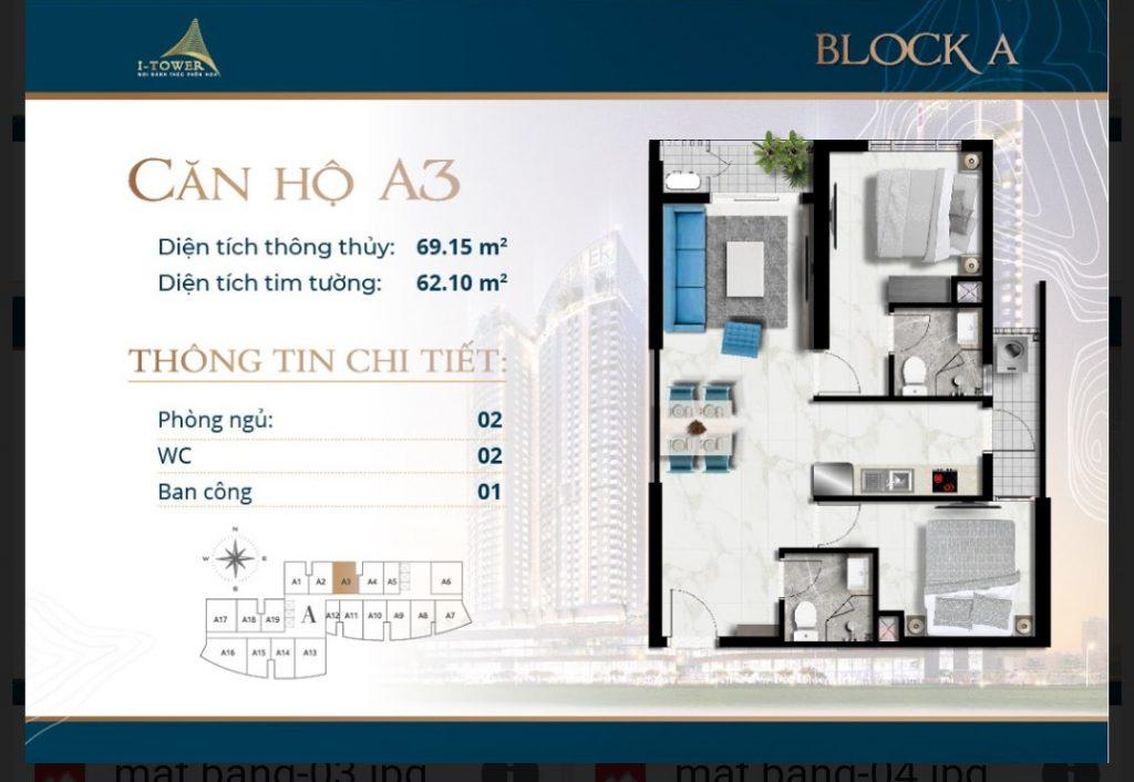 Thiết kế căn 2 phòng ngủ 69m2 dự án I-Tower Residences Quy Nhơn.