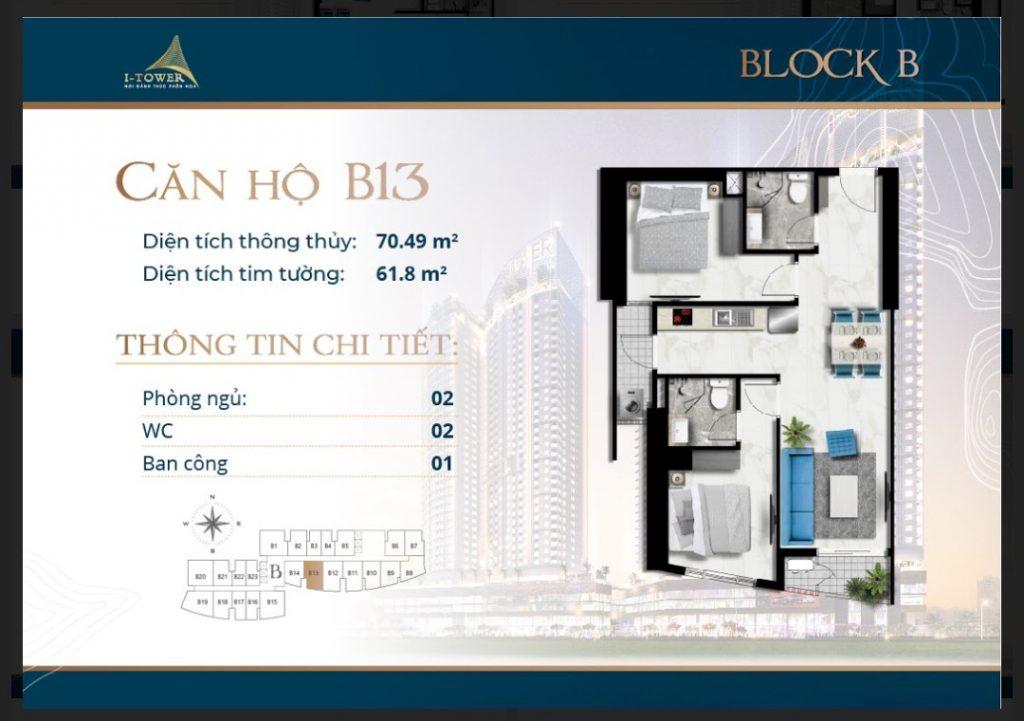 Thiết kế căn 2 phòng ngủ 70m2 dự án I-Tower Residences Quy Nhơn.