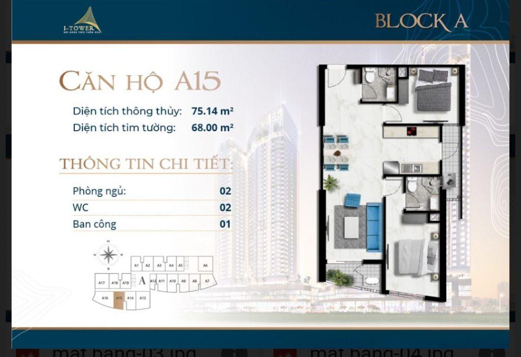 Thiết kế căn 2 phòng ngủ 75m2 dự án I-Tower Residences Quy Nhơn.