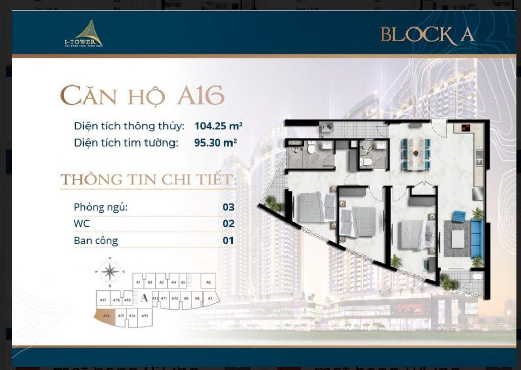 Thiết kế căn 3 phòng ngủ 104m2 dự án I-Tower Residences Quy Nhơn.