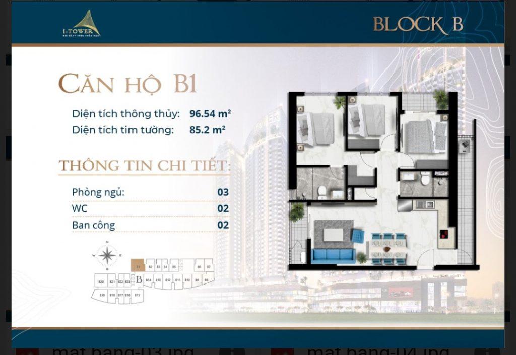 Thiết kế căn 3 phòng ngủ 96m2 dự án I-Tower Residences Quy Nhơn.