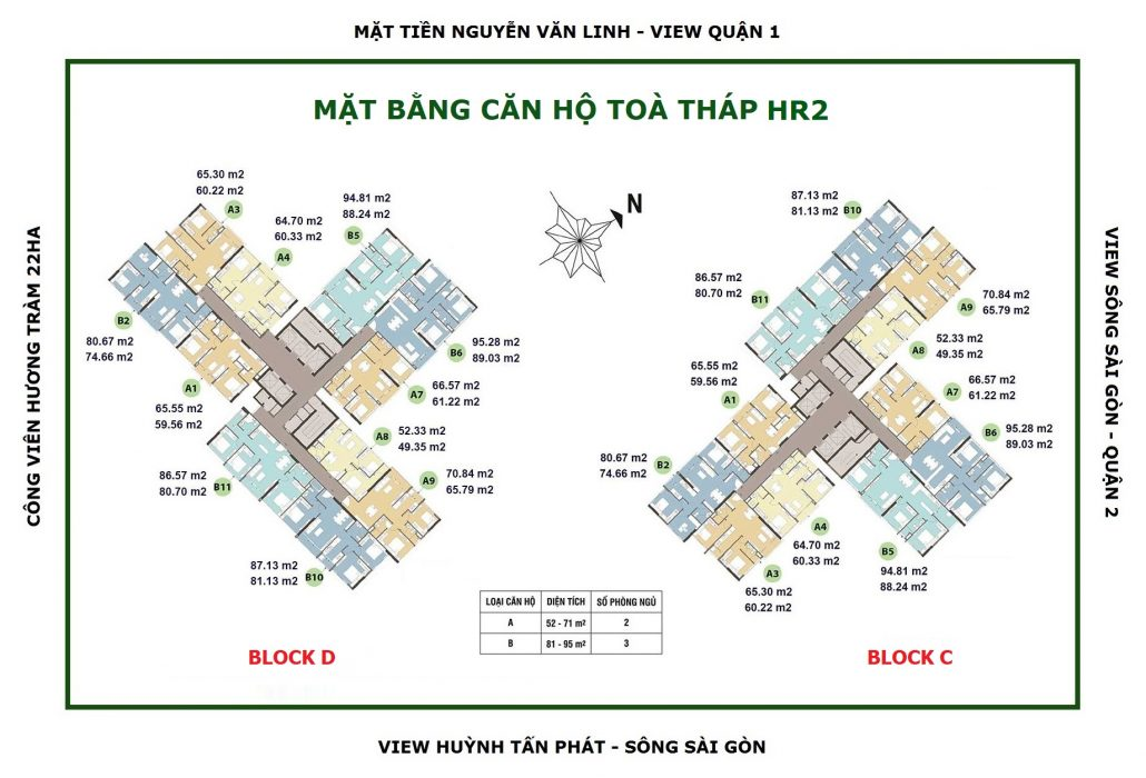 Mặt bằng chi tiết căn hộ Eco Green Quận 7 tòa HR2 block C và Block D