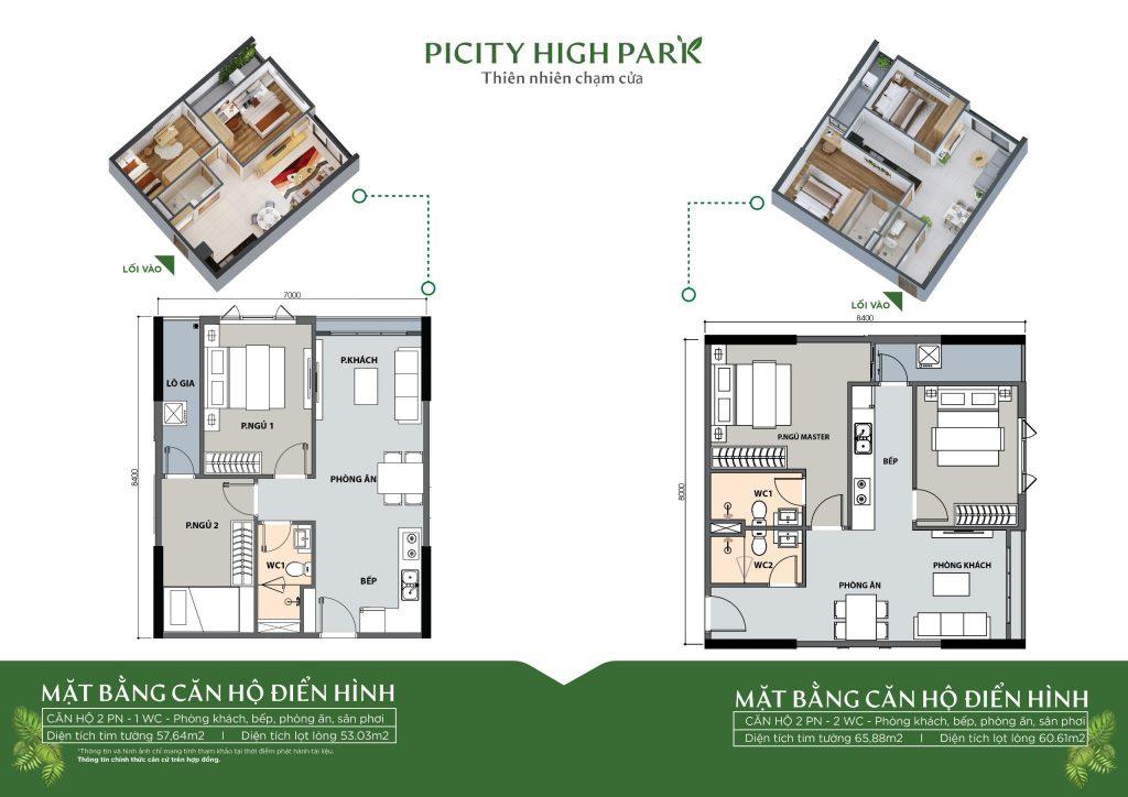 Thiết kế chi tiết căn 2 phòng ngủ 2 phòng vệ sinh căn hộ Picity High Park