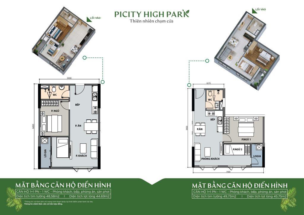 Thiết kế chi tiết căn 1+1 phòng ngủ 1 phòng vệ sinh căn hộ Picity High Park