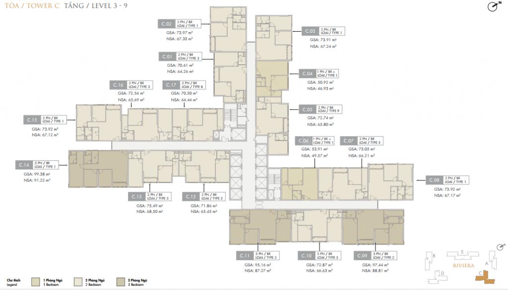 Mặt bằng điển hình block C Dự án Masteri