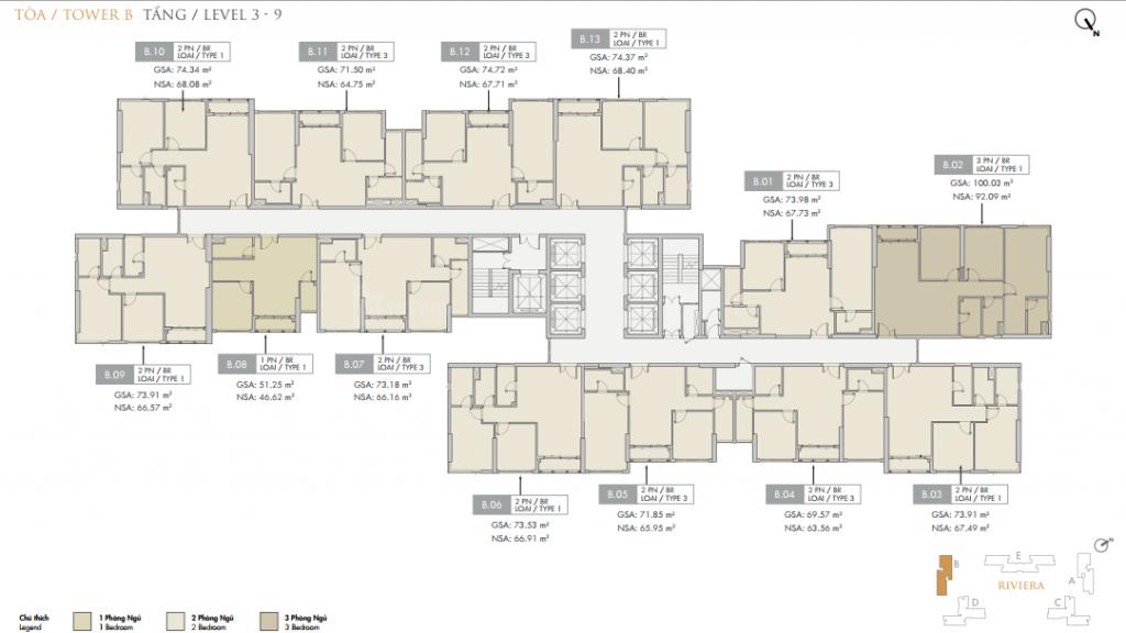 Mặt bằng điển hình block B căn hộ Quận 9