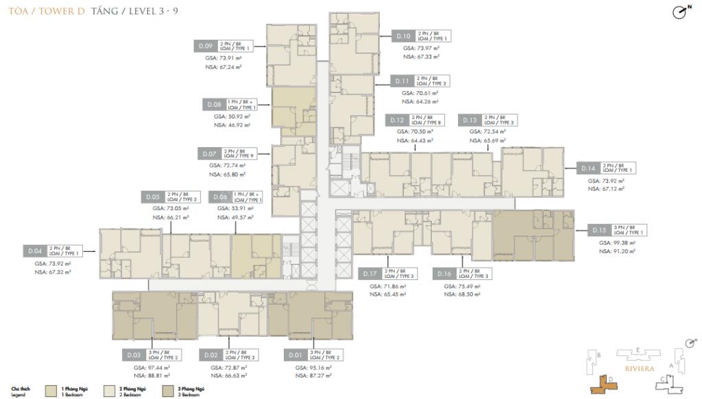 Mặt bằng điển hình block D Dự án Masteri