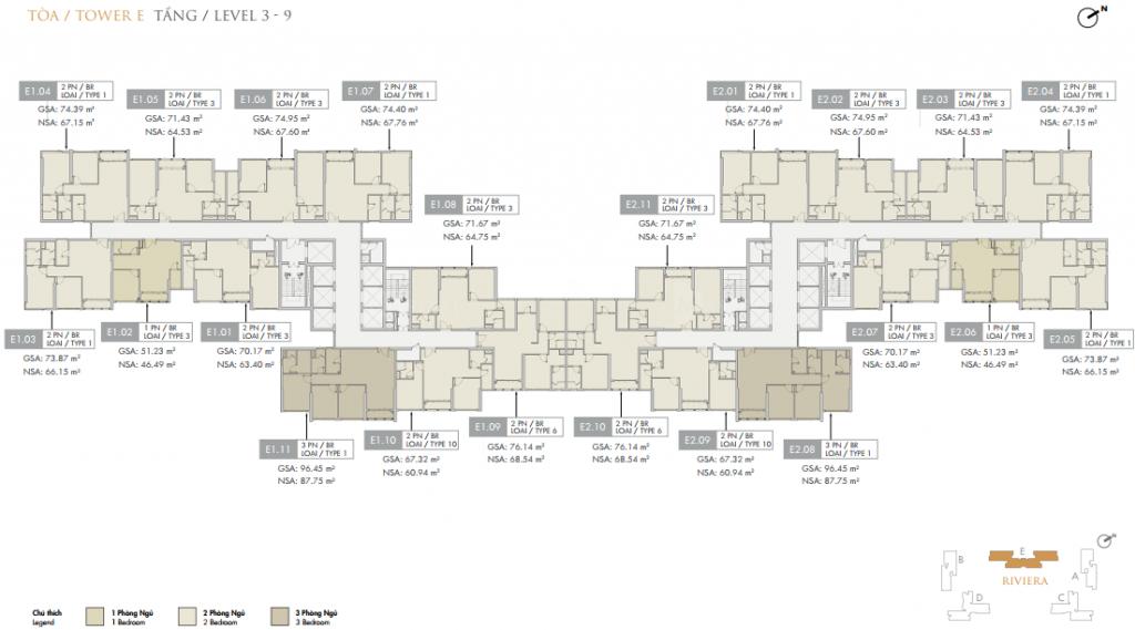 Mặt bằng điển hình block E Dự án Masteri