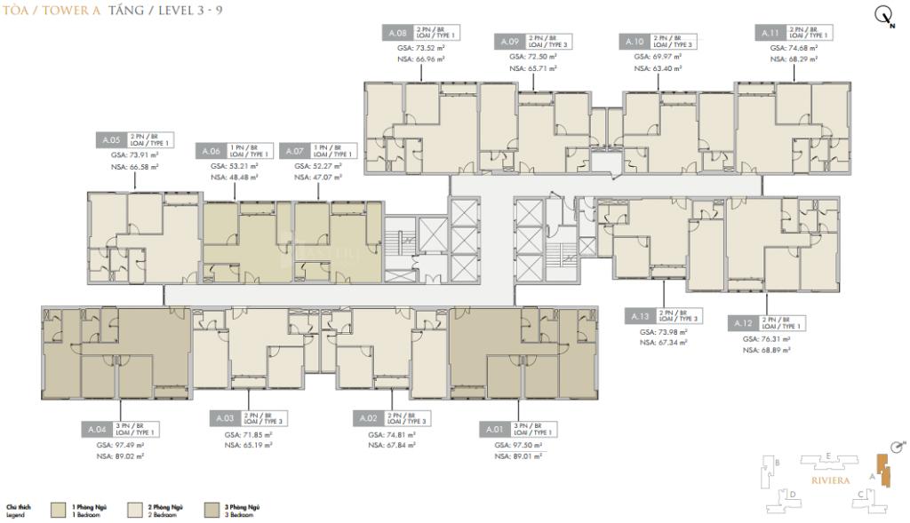 Mặt bằng điển hình block A căn hộ Masteri Centre Point Quận 9