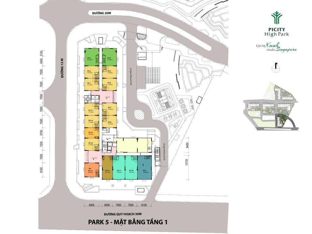Mặt bằng Block Park 5 dự án căn hộ Pi Group