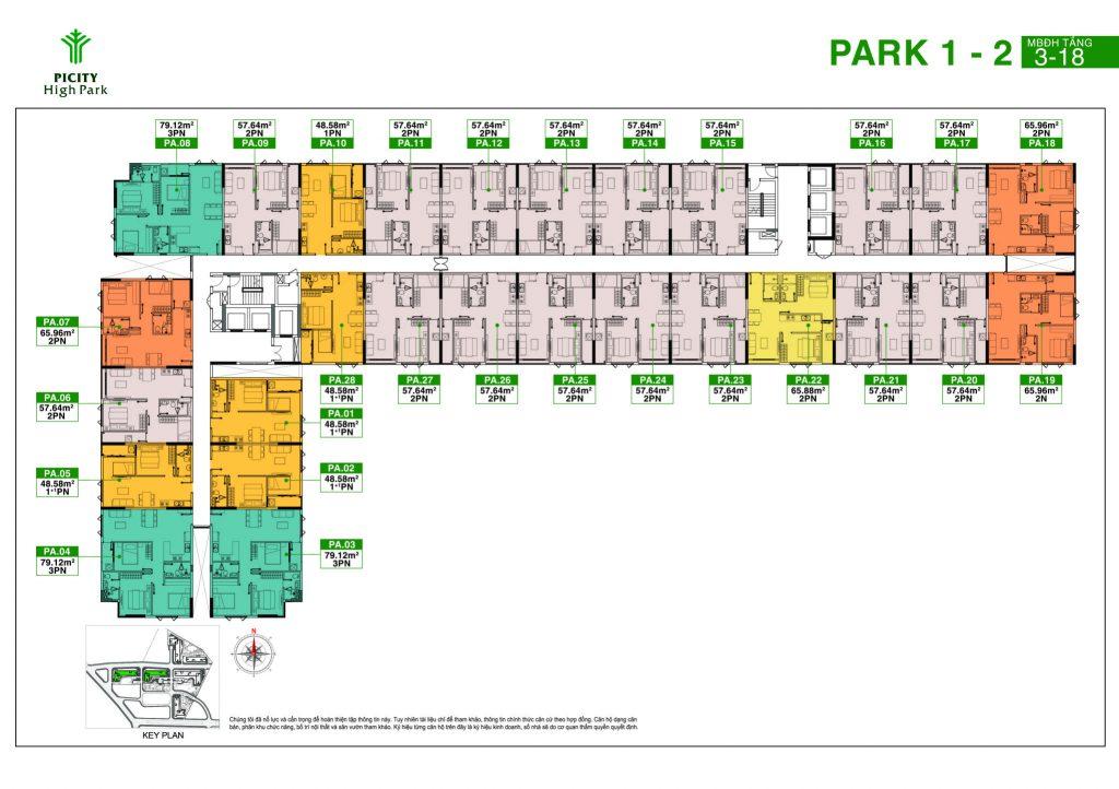 Mặt bằng Block Park 1 và 2 của dự án căn hộ
