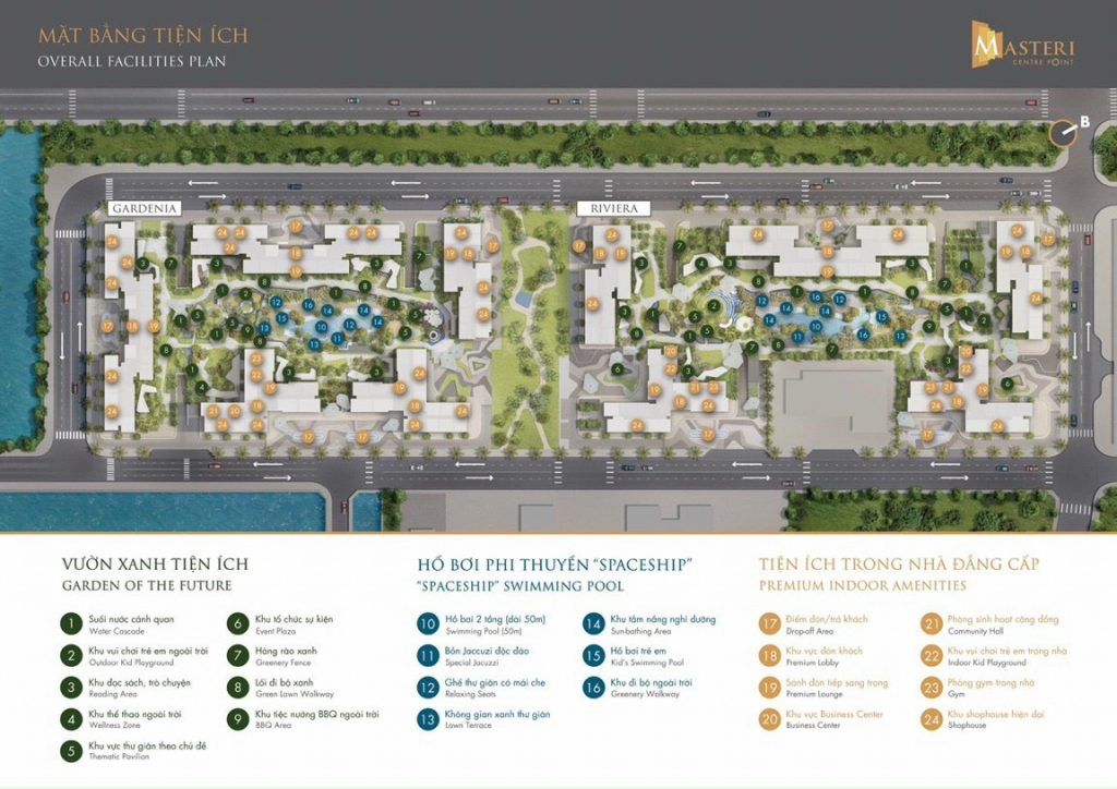Tiện ích tổng khu dự án Masteri Centre Point trong tổng khu Vinhome Quận 9