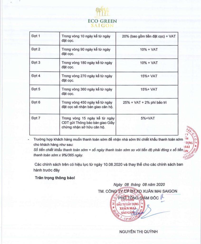 Chính sách bán hàng Eco Green Saigon Quận 7