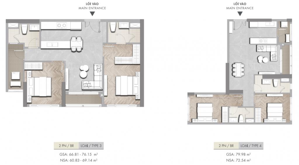 Thết kế căn 2 phòng ngủ căn hộ Masteri
