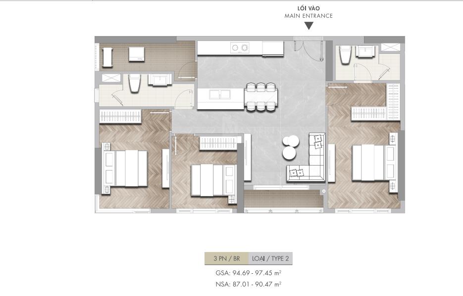 Thết kế căn 3 phòng ngủ căn hộ Masteri