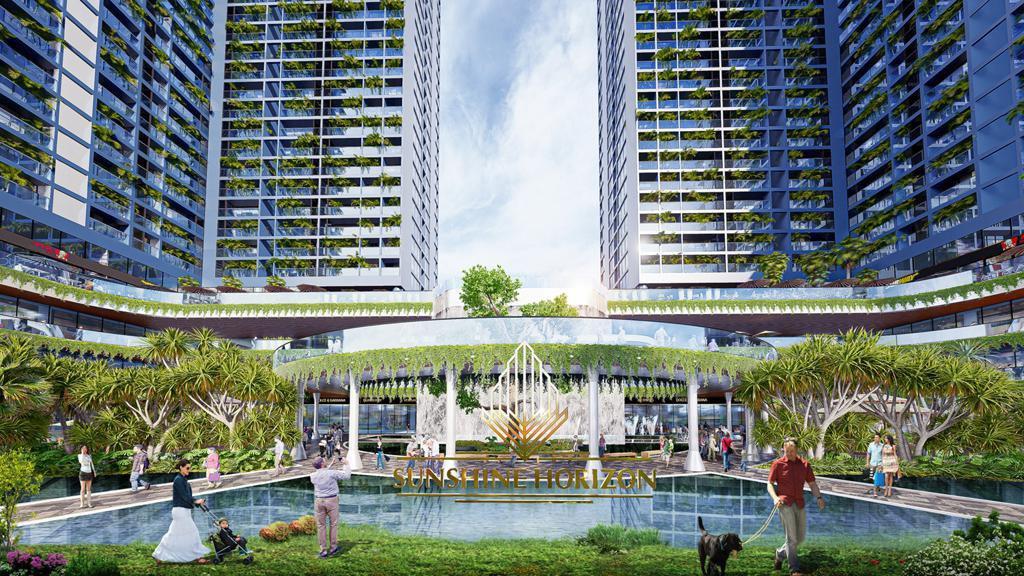Tiện ích cảnh quan nội khu Sunshine Horizon. Ngay trong lõi dự án, hàng chục nghìn m2 diện tích được chủ đầu tư dành để phát triển những góc vườn nhiệt đới kết hợp cùng hồ điều hòa và tổ hợp bungalow.