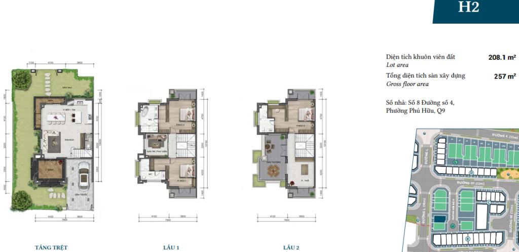 Mẫu thiết kế biệt thự H2 dự án Verosa Khang Điền Quận 9
