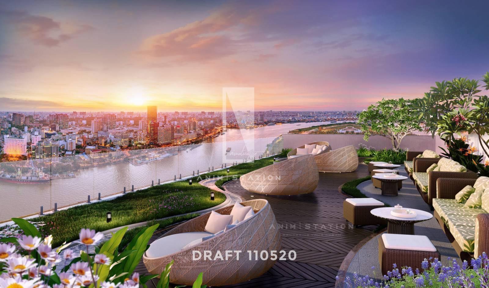 Khu cafe thư dãn mát mẻ view thành phố tại dự án căn hộ D-Aqua Quận 8