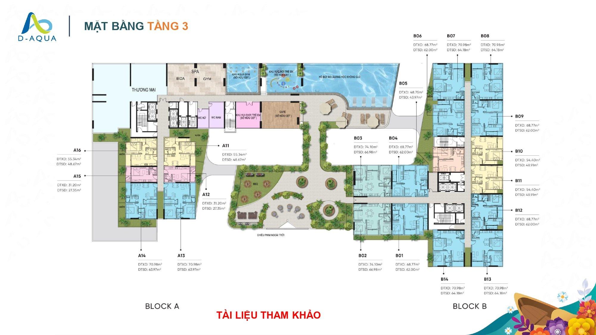 Mặt bằng tầng 3 dự án căn hộ chung cư D-Aqua Quận 8