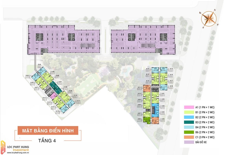 Mặt bằng tầng 4 dự án căn hộ chung cư Aio City Bình Tân Hoa Lâm đường Tên Lửa