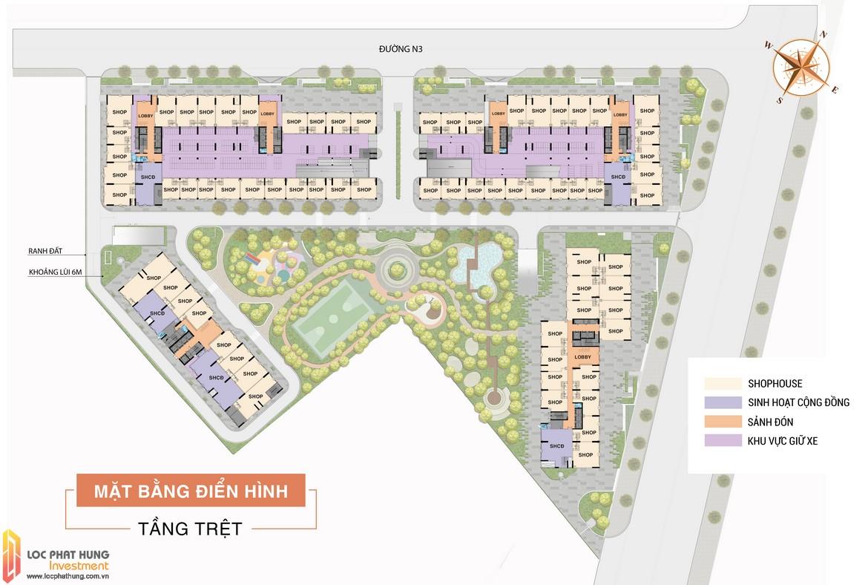 Mặt bằng tầng trệt dự án căn hộ Aio City Bình Tân Hoa Lâm