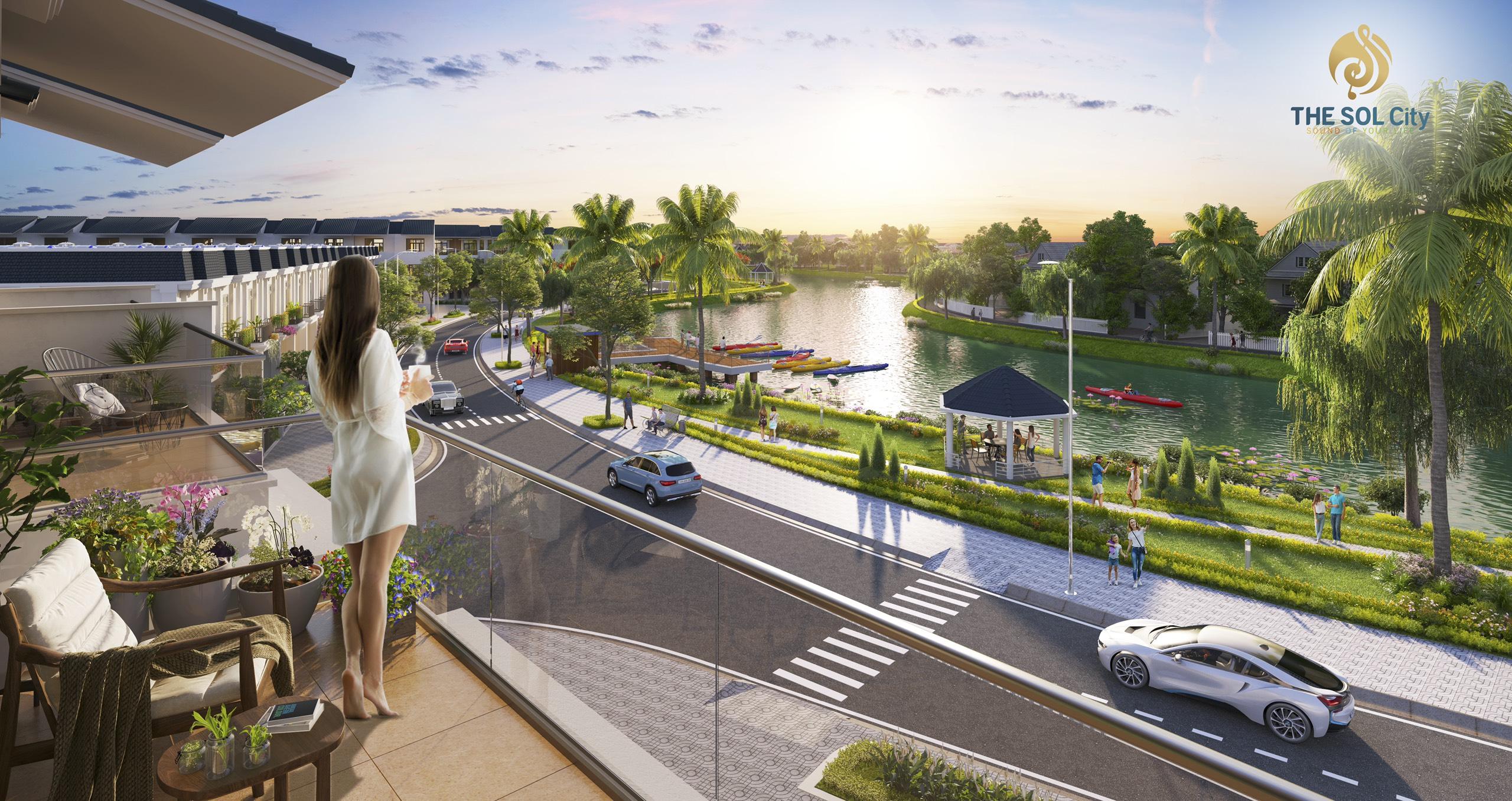 Công viện dọc sông thoáng mát mang lại không khí trong lành thư thái cho cả dự án