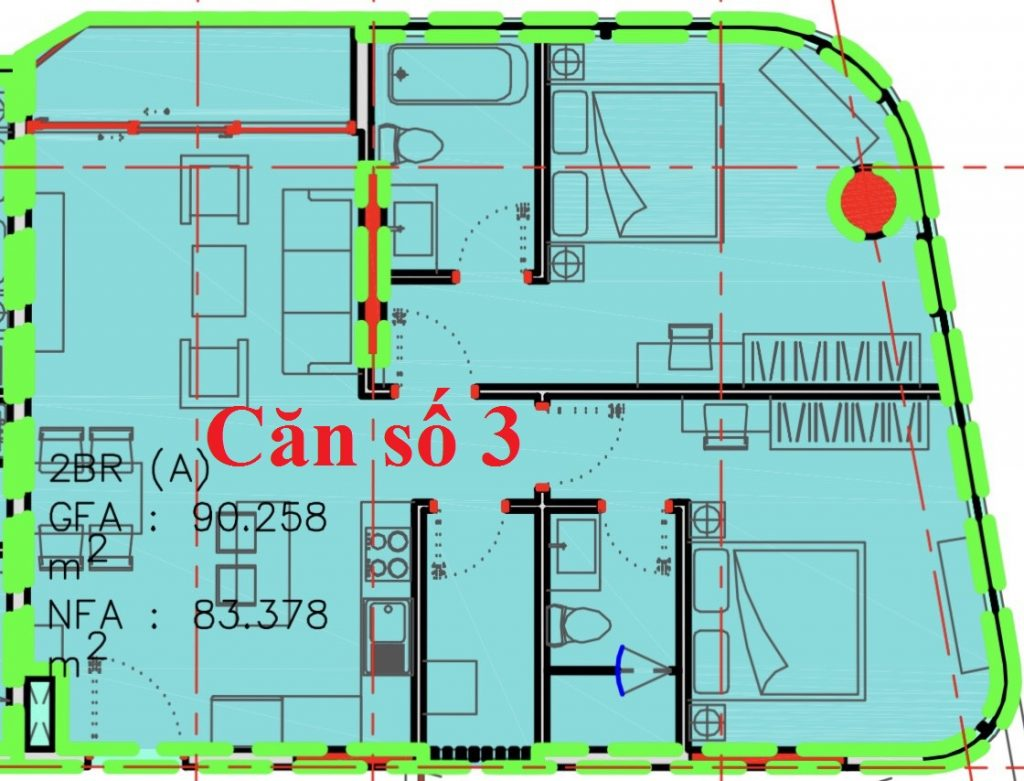 thiết kế căn hộ số 03 2PN 90m2 dự án KingCrownInfinity Thủ Đức
