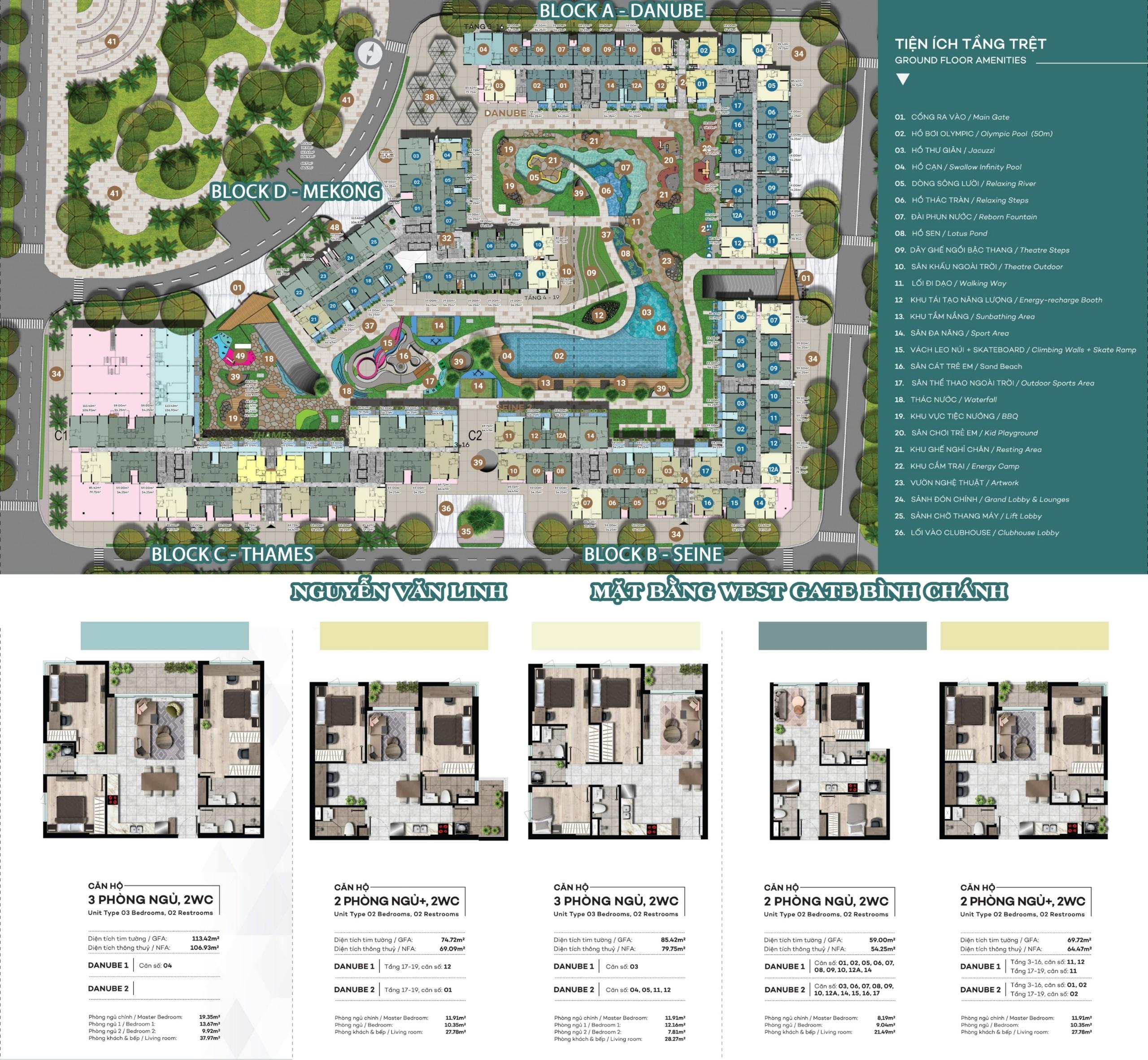 Mặt bằng và thiết kế căn hộ block D dự án Westgate Bình Chánh An Gia