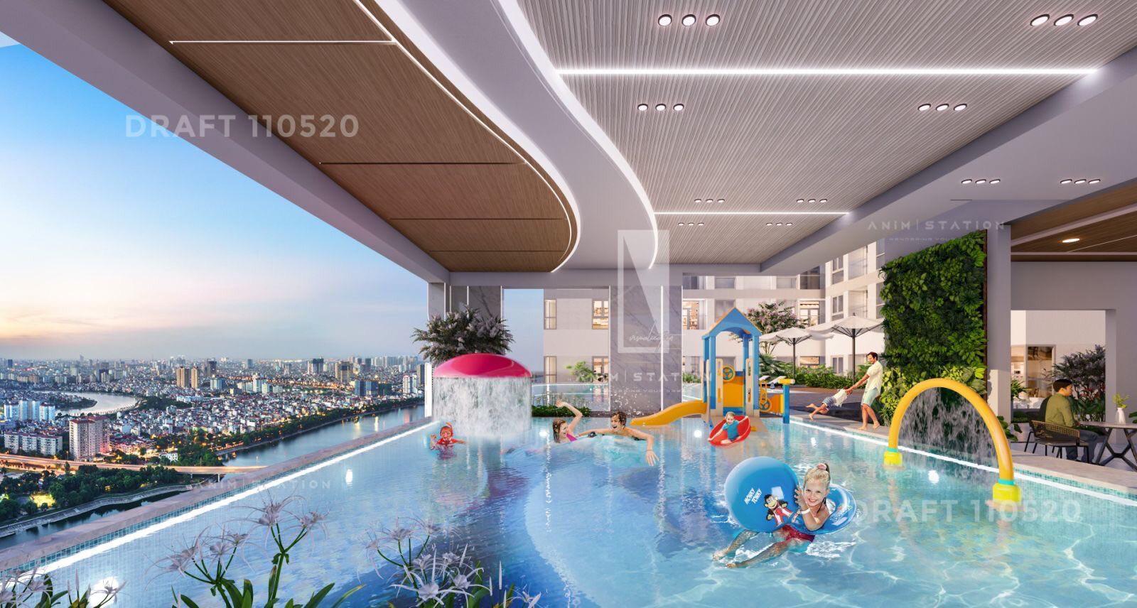 Khu hồ bơi dành cho trẻ em rộng thoáng