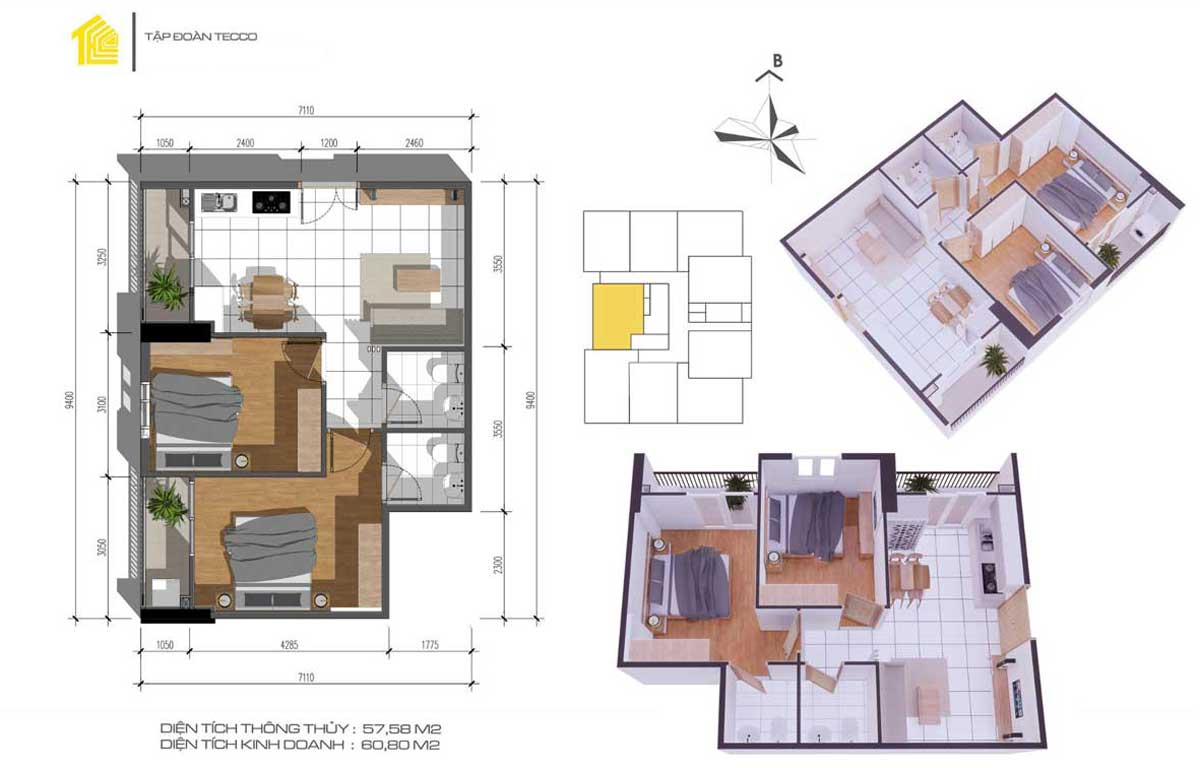 Thiết kế căn 2pn DT 60m2 Dự án Fresia Garden Quận 9