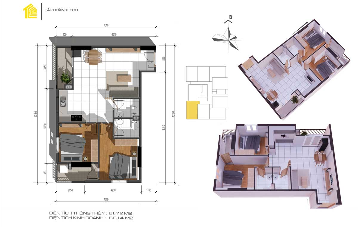 Thiết kế căn 2pn DT 66m2 Căn hộ Fresia Garden Quận 9