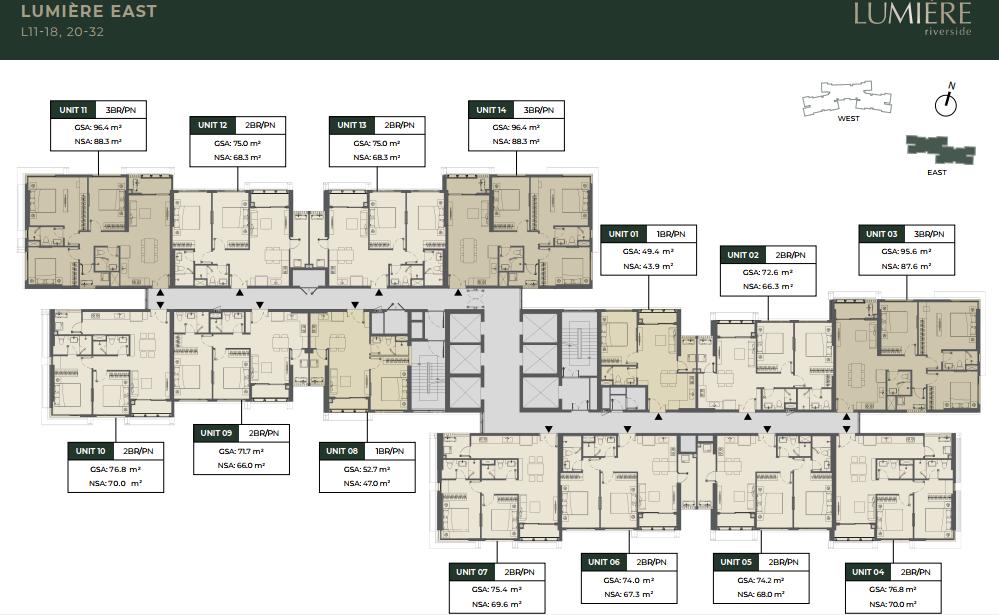 Mặt bằng tầng 11 - 18, 20 - 32 tòa East căn hộ Lumiere Riverside An Phú Quận 2