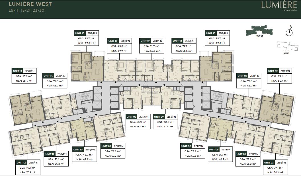 Mặt bằng tầng 09 - 10, 13 -21, 23 - 30 tòa West căn hộ Lumiere Riverside Quận 2