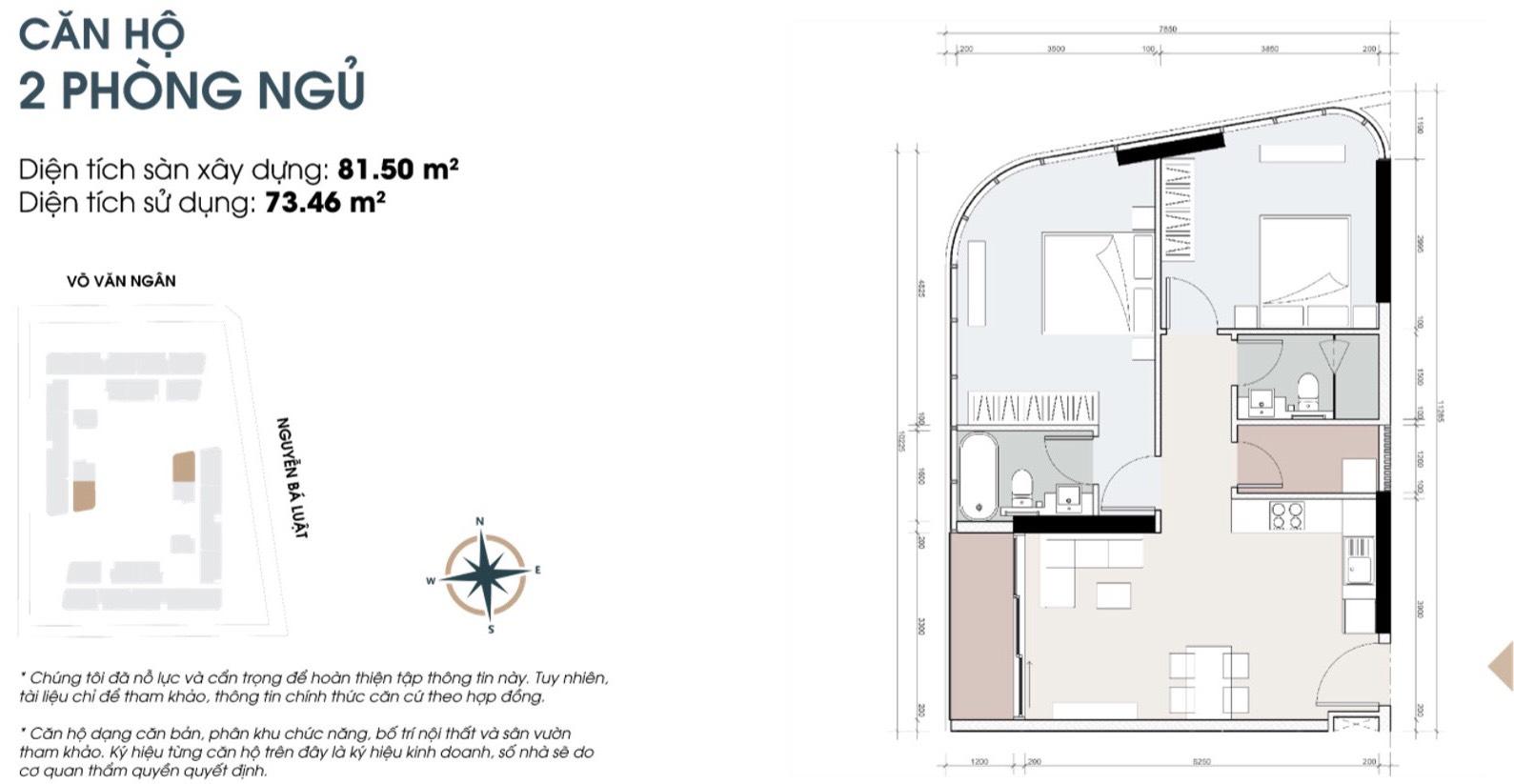 Thiết kế căn 2 phòng ngủ góc 81m2 dự án căn hộ King Crown Thủ Đức