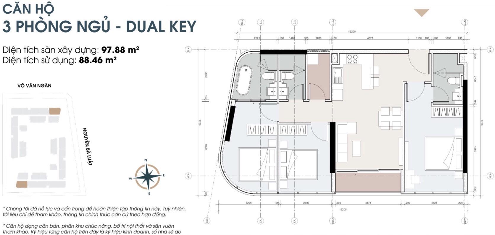 Thiết kế căn 3 phòng ngủ 98m2 dự án căn hộ King Crown Thủ Đức
