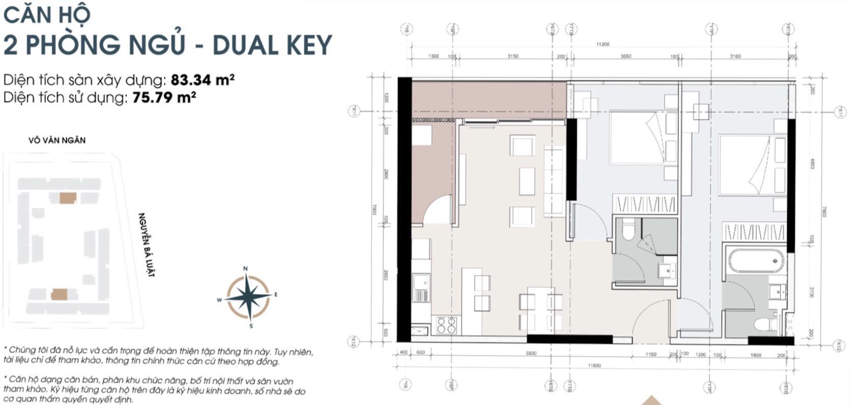 Thiết kế căn 2 phòng ngủ 83m2 dự án căn hộ King Crown Thủ Đức