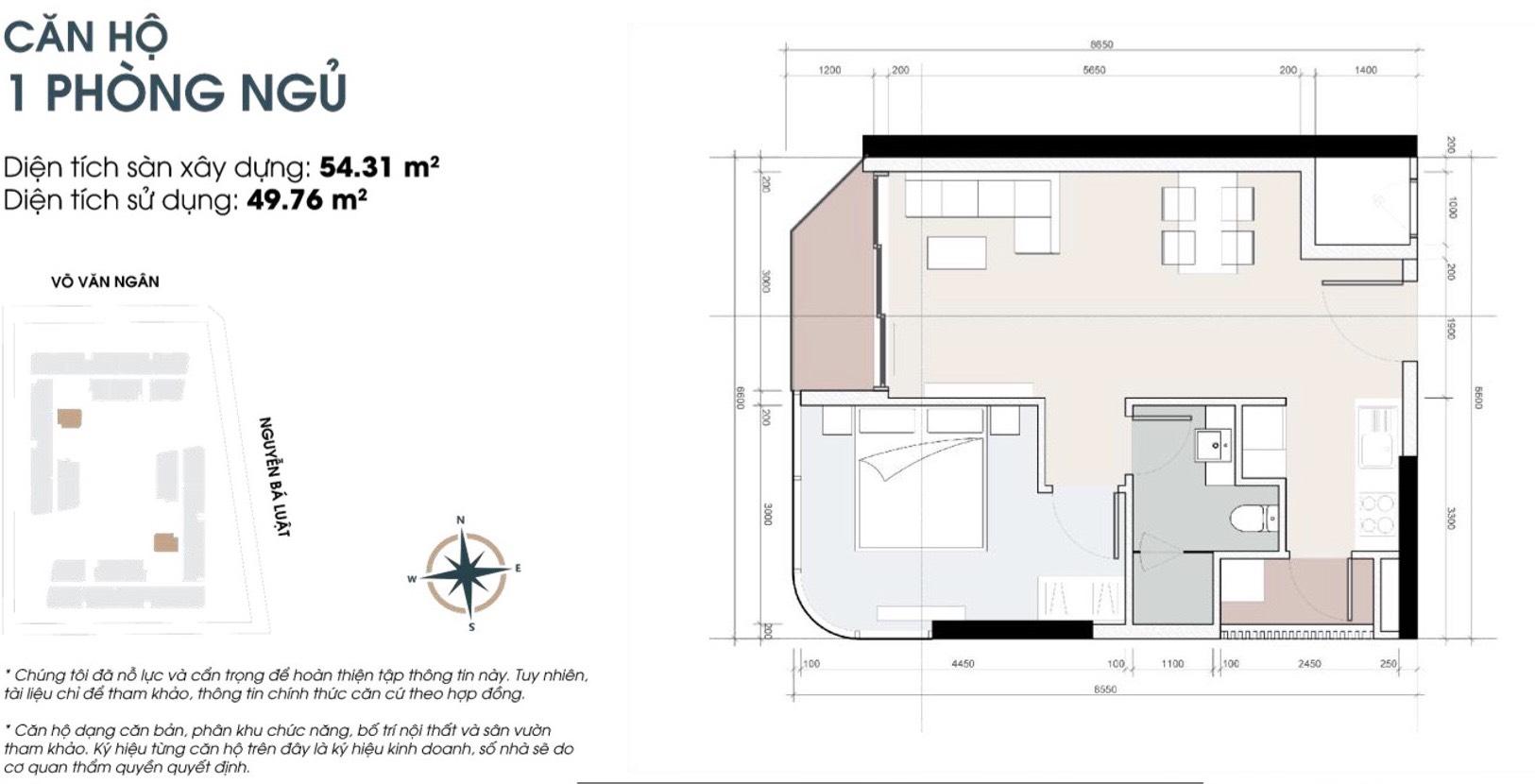 Thiết kế căn 1 phòng ngủ 54m2 căn hộ King Crown Thủ Đức