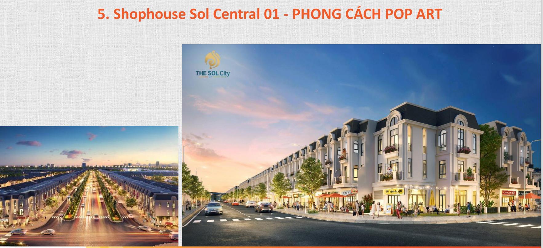 Mẫu thiết kế Shophouse The Sol City Thắng Lợi