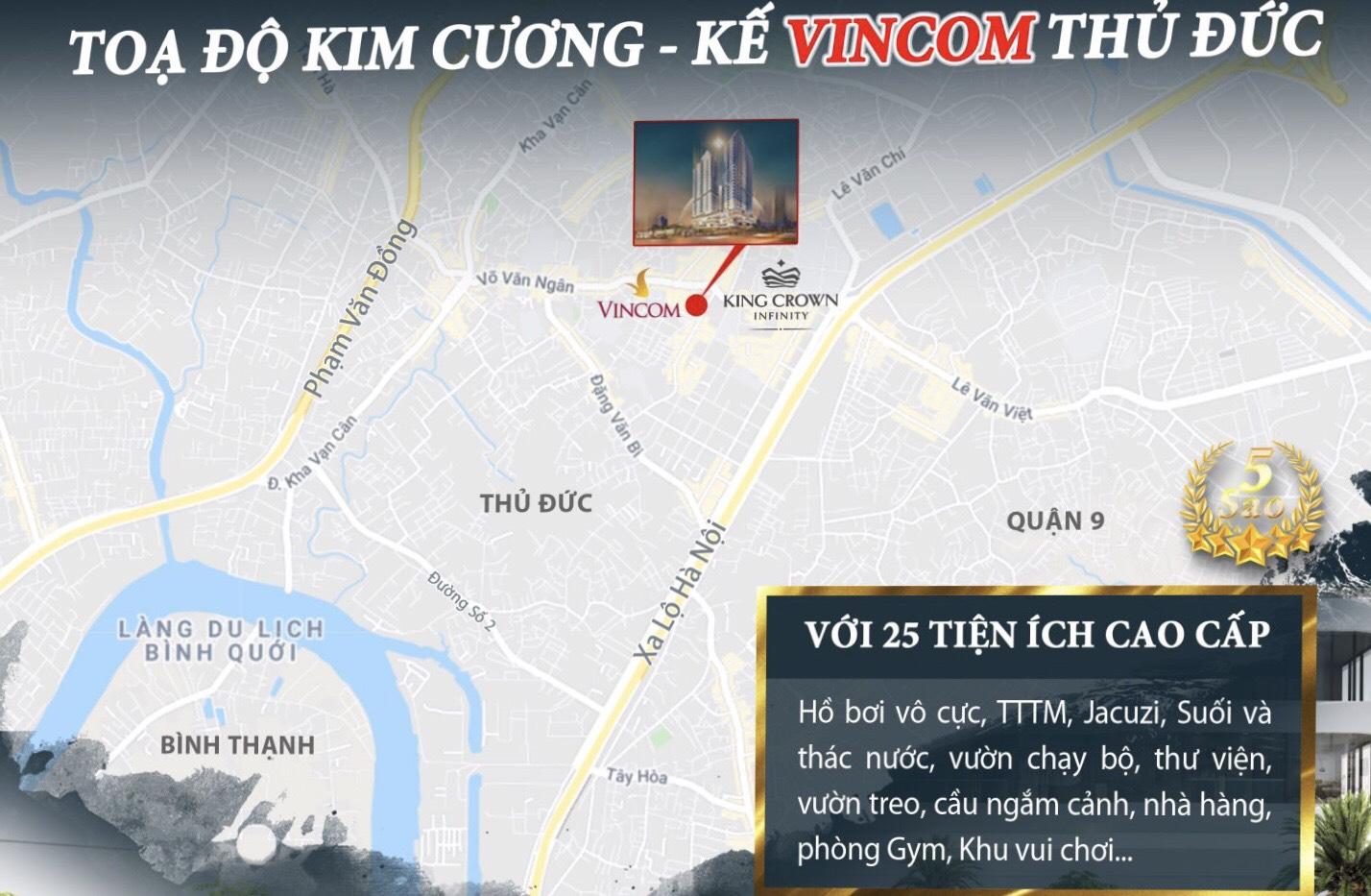 Tọa lạc tại vị trí kim cương Quận Thủ Đức của dự án căn hộ King Crown Infinity