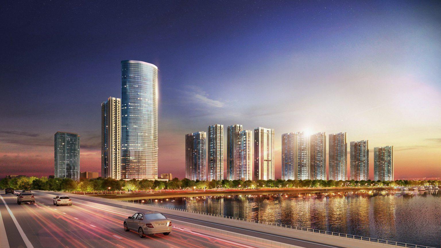 Phối cảnh nhìn từ sông Sài Gòn vào dự án căn hộ Grand Marina Quận 1