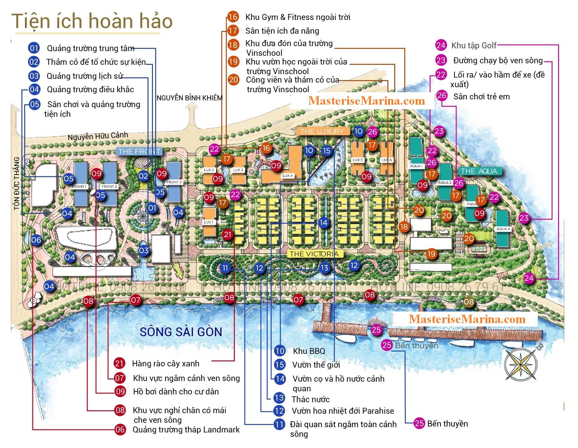 Mặt bằng bố trí tiện ích dự án căn hộ Grand Marina Saigon Quận 1