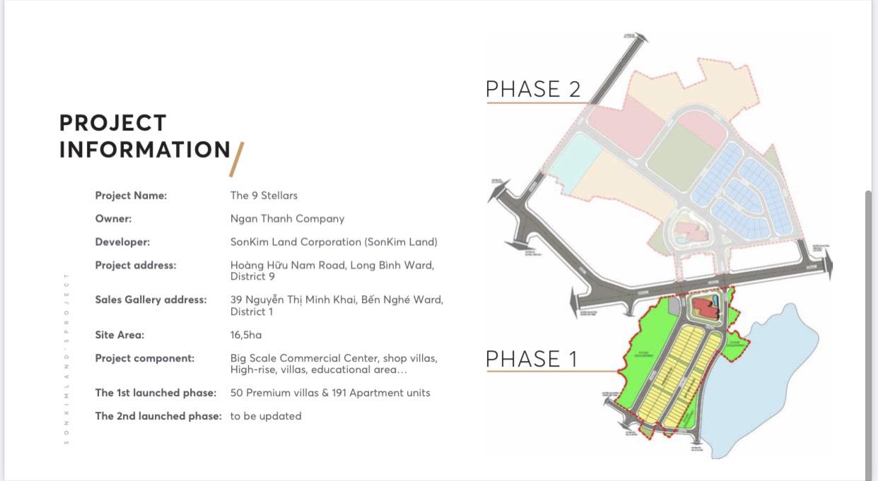 Mặt bằng dự án The 9 Stellars Sơn Kim Land Quận 9. Giai đoạn 1 rộng 4,5ha gồm biệt thự và căn hộ