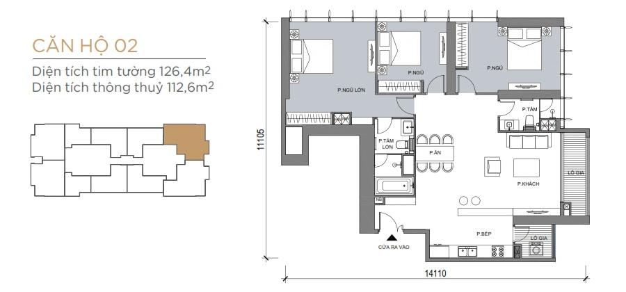 Thiết kế mẫu số 02 căn hộ Grand Marina Saigon Quận 1