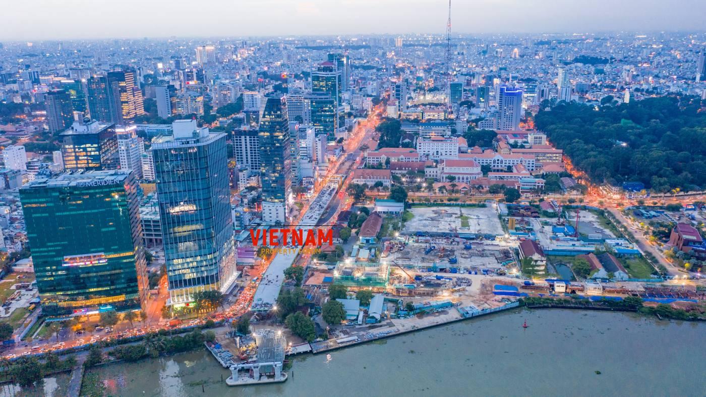 Một góc nhìn trung tâm thành phố từ dự án căn hộ Grand Marina Saigon Quận 1