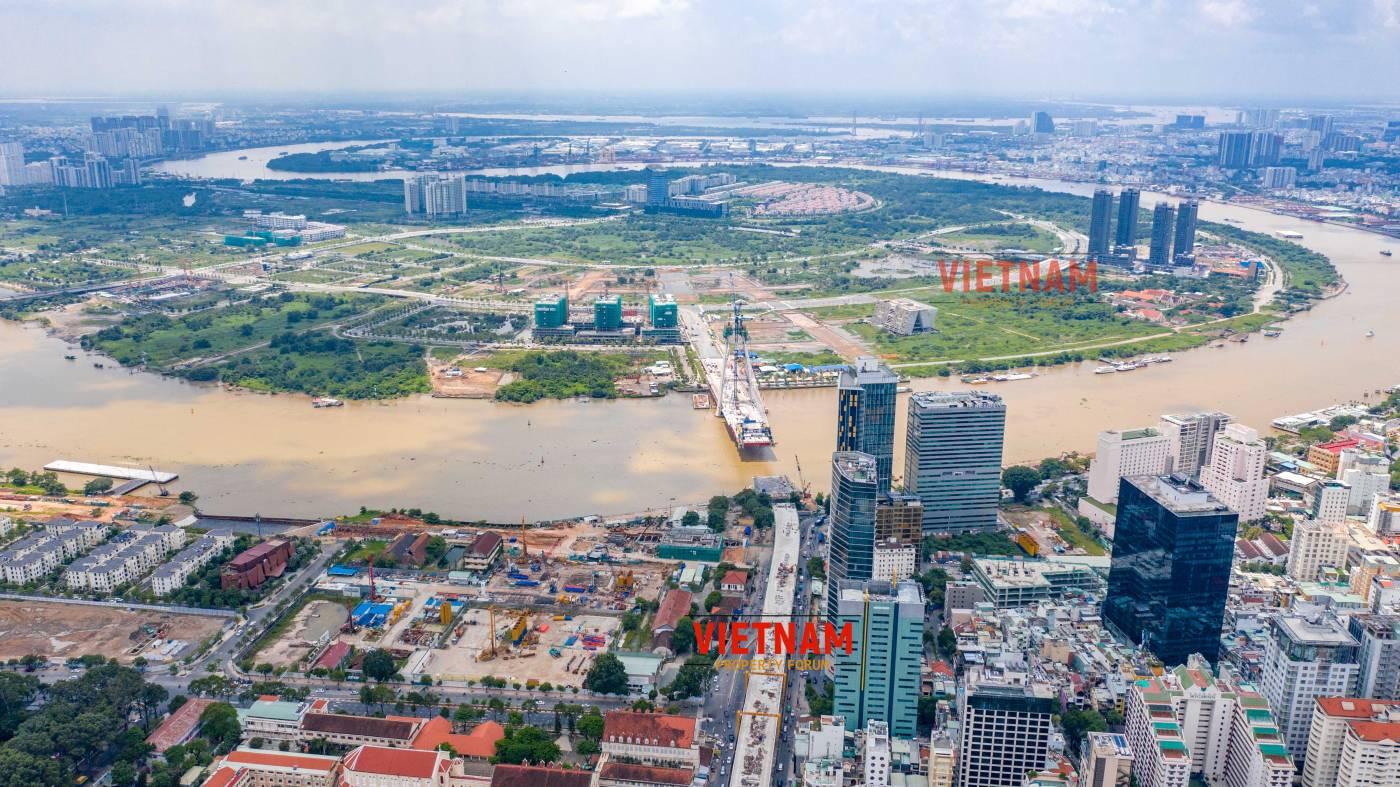 Một góc nhìn trung tâm thành phố mới Thủ Đức từ dự án căn hộ Grand Marina Saigon Quận 1