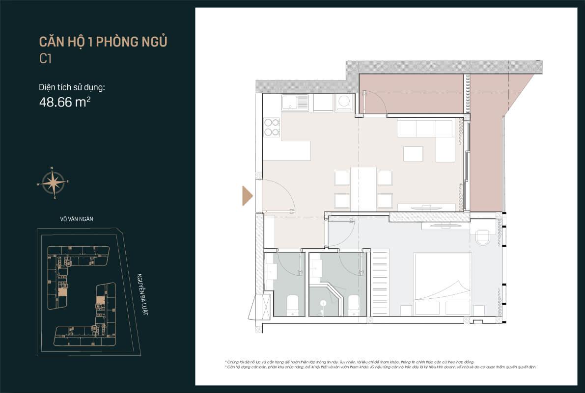 Mẫu thiết kế căn hộ 1PN mẫu C1 căn số 1 dự án King Crown Infinity Thủ Đức