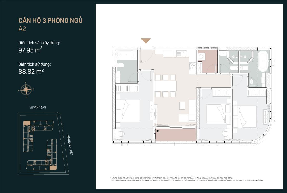 Mẫu thiết kế căn hộ 3PN mẫu A2 căn số 7 dự án King Crown Infinity Thủ Đức