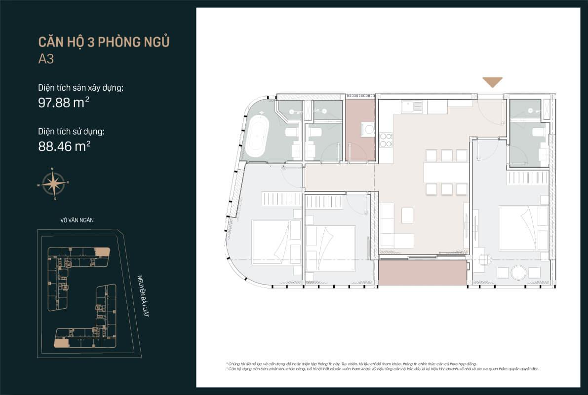 Mẫu thiết kế căn hộ 3PN mẫu A3 căn số 11 dự án King Crown Infinity Thủ Đức