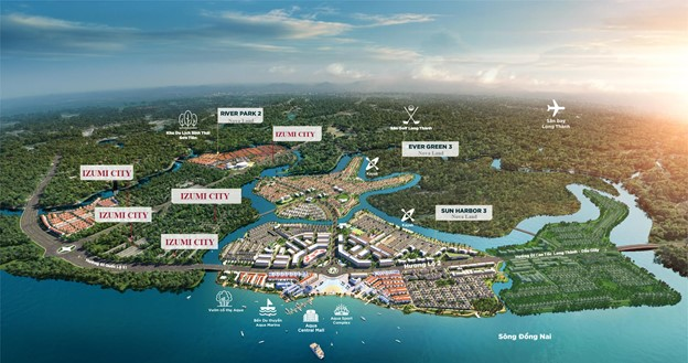 Phối cảnh tổng thể dự án nhà phố biệt thự Izumi Nam Long Đồng Nai